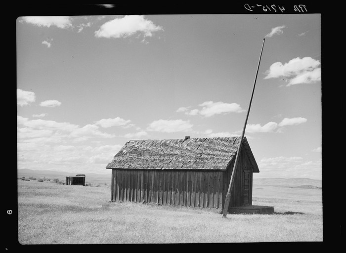 """5. """"An abandoned schoolhouse to which children travelled for miles. Jefferson County, Oregon."""""""