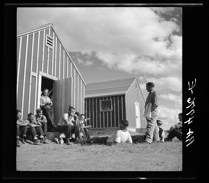 """20. """"Resting after a hard day's work at a Resettlement Administration workcamp. Jefferson County, Oregon"""""""
