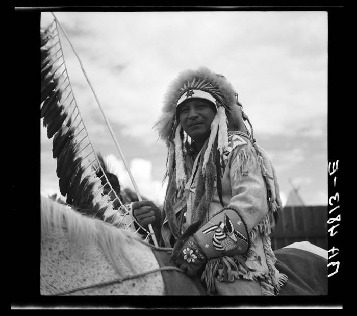 """15. """"A Warm Springs Indian chief at the Molalla Buckeroo. Molalla, Oregon"""""""