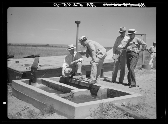 "16. ""A little water for a thirsty land. Drought committee inspects artesian well irrigation project. Baca County, Colorado."" (1936)"