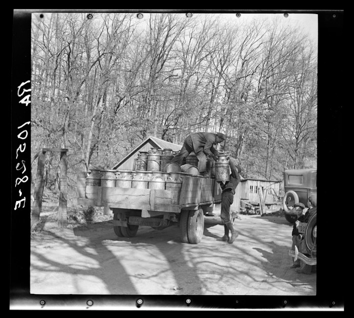 11. This one is a milk truck near Battle Ground, Indiana in 1937.