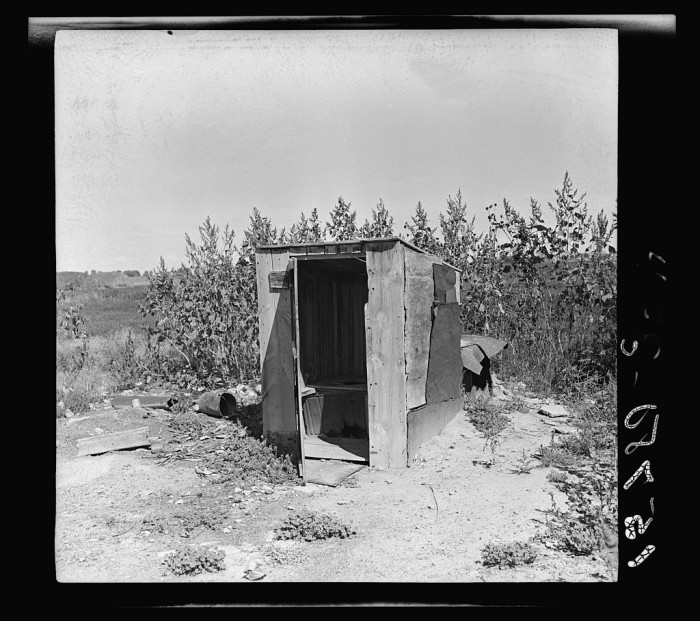"2. ""One of the four outhouses which serve fifty people. Great Western Sugar Company's beet sugar workers' colony at Hudson, Colorado."" (1938)"