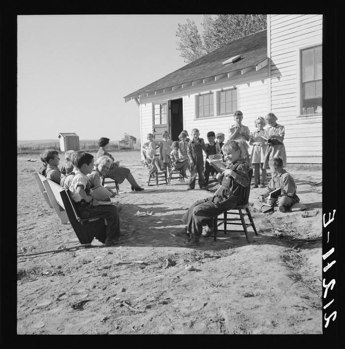 "3. ""Entire enrollment of Lincoln Bench School. Teacher in center. Near Ontario, Oregon, Malheur County."""