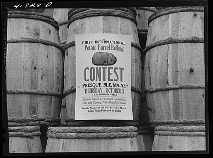 6. Poster distributed throughout Aroostook County, Maine by the potato growers association advertising the barrel rolling contest. (Presque Isle, 1940)