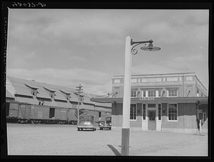 """14. Known as the """"greatest potato shipping point in the world"""" this is the local railroad station. (Caribou,1940)"""