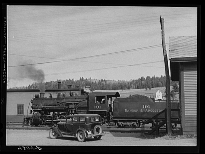 21. At the freight yards of the Bangor and Aroostook Railroad. (Caribou, 1940)