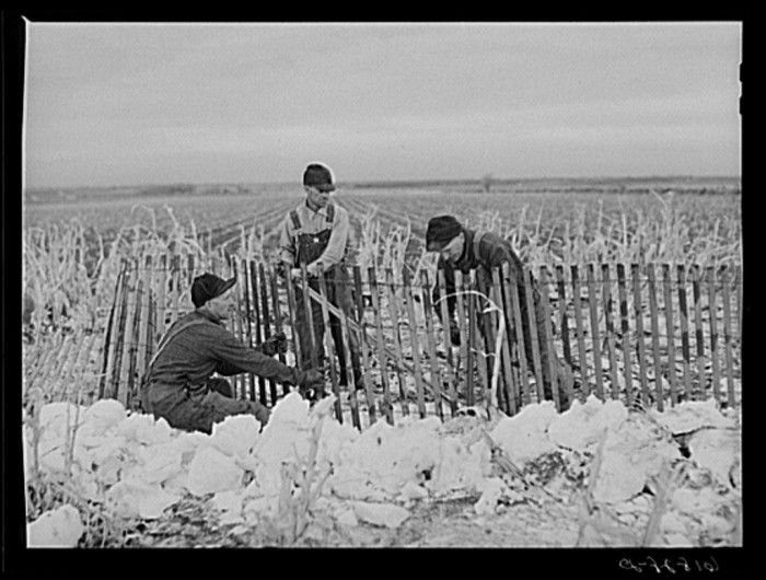 15. Workers erect a snow fence in York County.