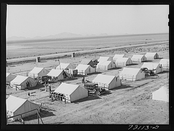 4. In other areas, migrant farm workers lived in tent communities, like these in Pinal County.