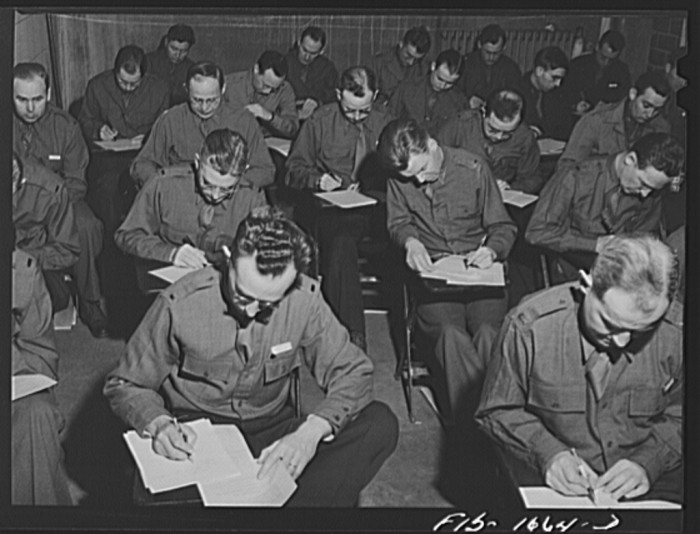 7. This is a class at the chaplain school taking exams at Fort Benjamin Harrison.