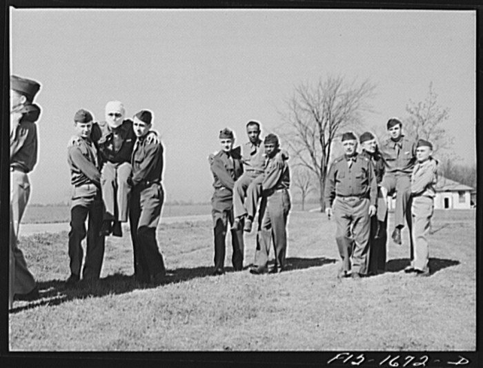 9. These four pictures are of a  first aid class at the chaplain school in Fort Benjamin Harrison.