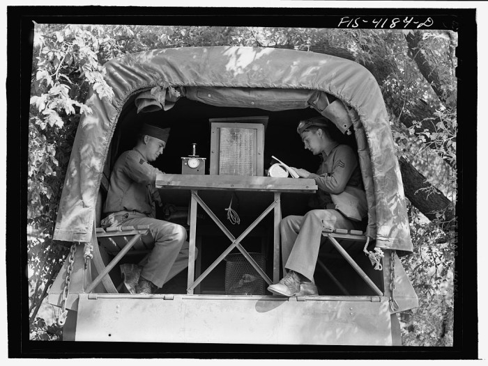"""9. """"Signal Corps message center set up during a field problem."""""""