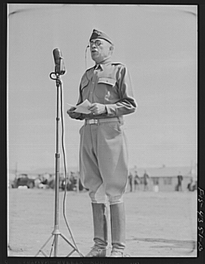 """15. """"General Millikan addressing his troops during a review."""""""