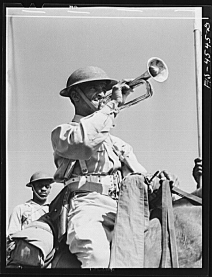 "19. ""Bugler of G troop of the 10th Cavalry brigade."""