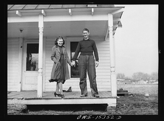 """4. """"Rio Grande, Ohio. Mr. and Mrs. Reed Hall at their new home on a 500 acre dairy farm in Gallia County, Ohio. Mr. Hall was placed on this farm after attending the farm labor training school at Rio Grande College, Ohio."""""""