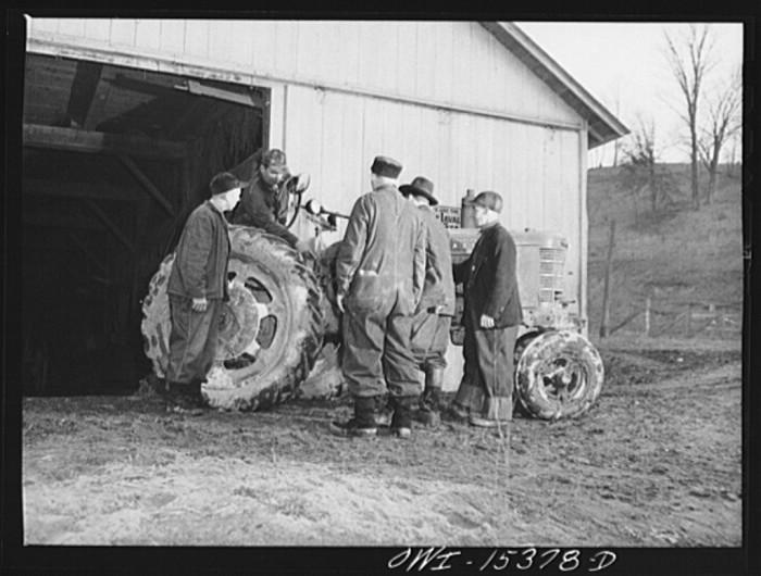 """""""Rio Grande, Gallia County, Ohio. Vinton Kerr (on the tractor), a local farmer hired to instruct farm labor trainees at Rio Grande College."""""""