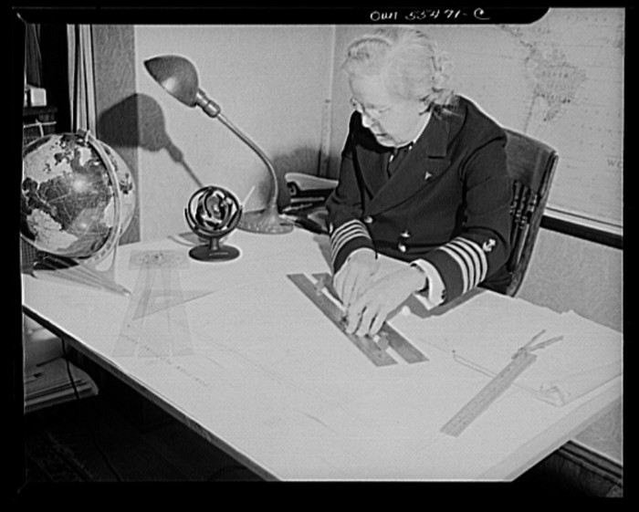 "5. ""'Captain"" Mary Converse, instructing V-7 (candidates for United States Navy ensign commissions) students in use of sextant, compass and gyroscope and in navigation."""