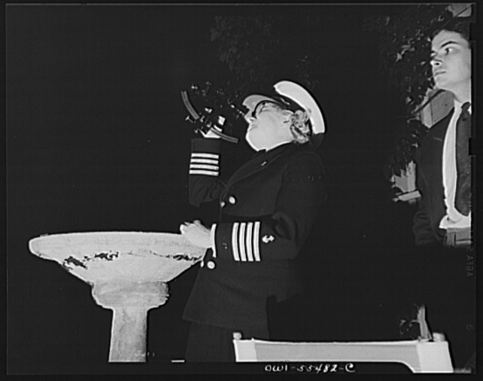 "3. ""'Captain Mary demonstrating the use of the sextant in locating one's position by the stars."""