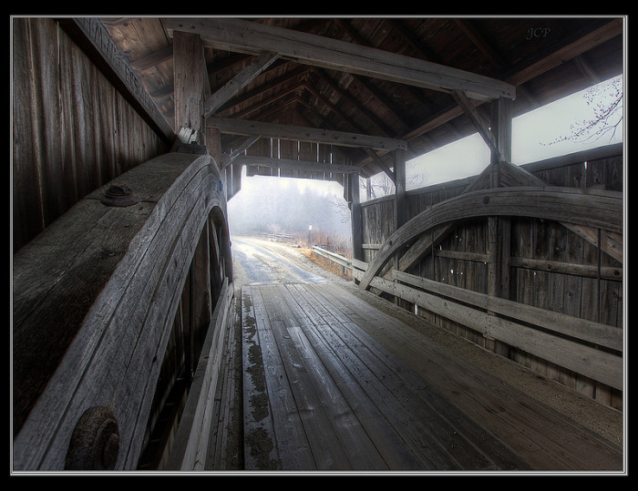 9.	Fog at a covered bridge in Charlotte.