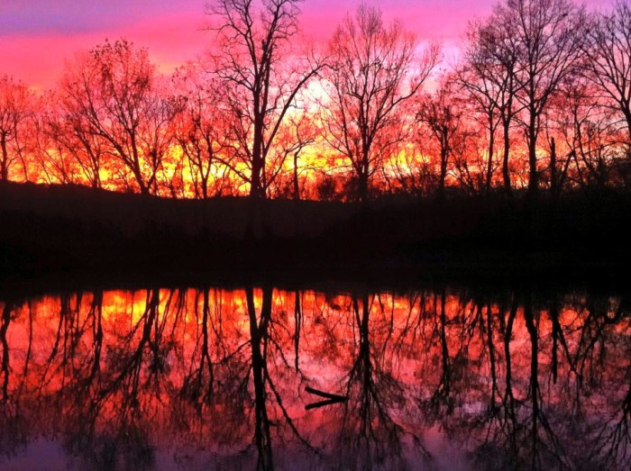 9.	Sunset on the river — at Old Greenville Campgrounds