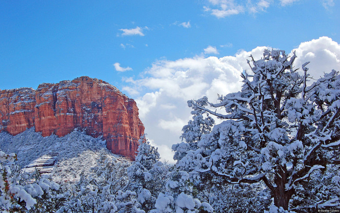 1. Sedona is usually a pretty awesome place to see snow, especially how it contrasts with the red rocks.