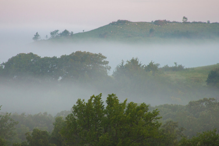 7. A thick blanket of fog covering the Flint Hills.