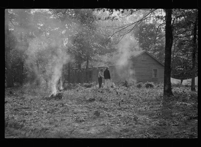 """7. """"Clearing land by burning stumps, Skyline Farms, Alabama."""""""