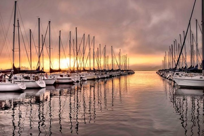 12. The sunrise and sailboats on Lake Guntersville were wonderfully captured in this photo.