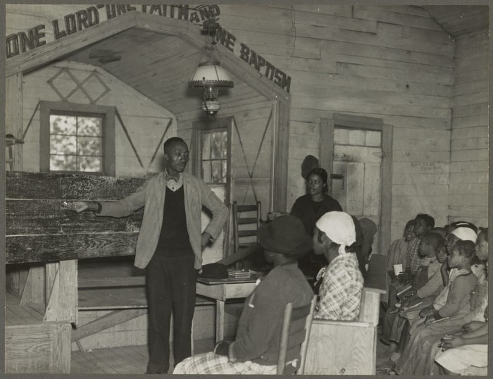 6. Conducting school in the Church, Gees Bend - 1937.