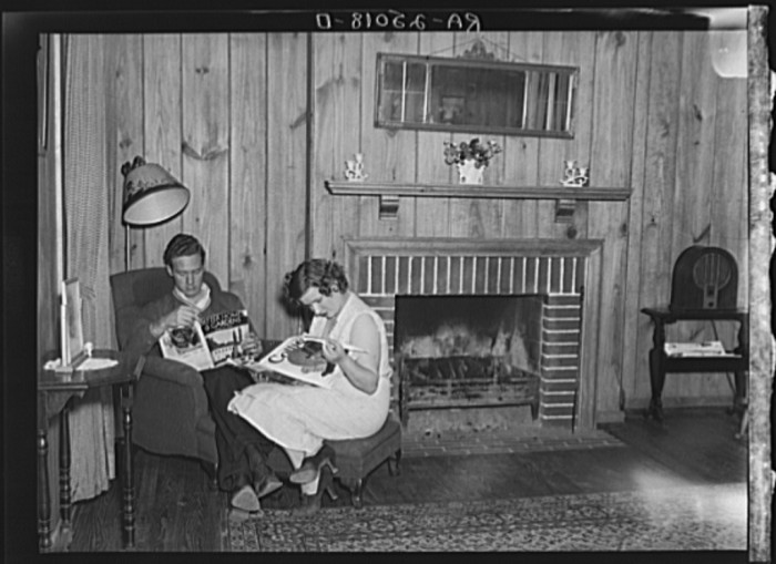 Andy Smith and wife inside living room - 1937.