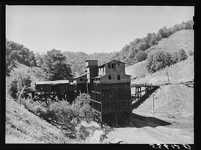 18. An abandoned coal trestle near Chavies, 1940.