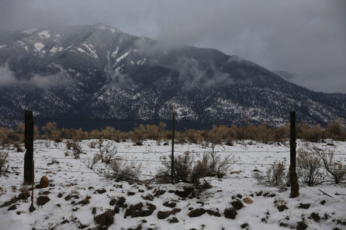 13. Snow highlights the craggy nature of this mountain, near Arroyo Seco.