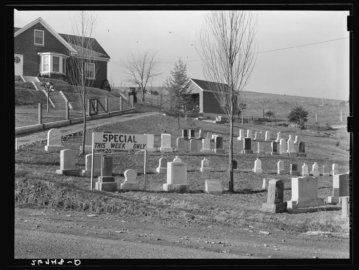 6. Bargain tombstones in Lexington, 1939.