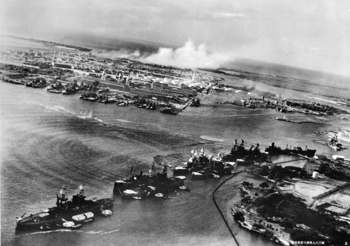 Torpedo planes attack Battleship Row at approximately 8 a.m. on December 7, 1941, as seen from a Japanese aircraft.