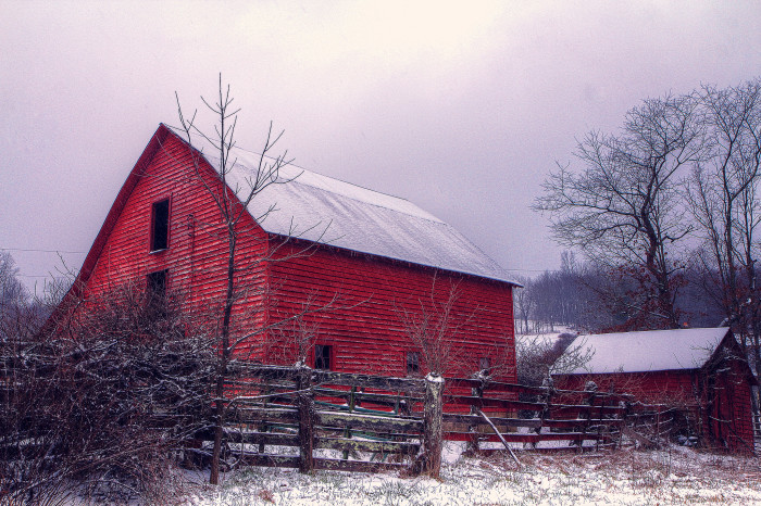 20. This beautiful Blue Ridge Mountain barn is a study in contrasts and color.