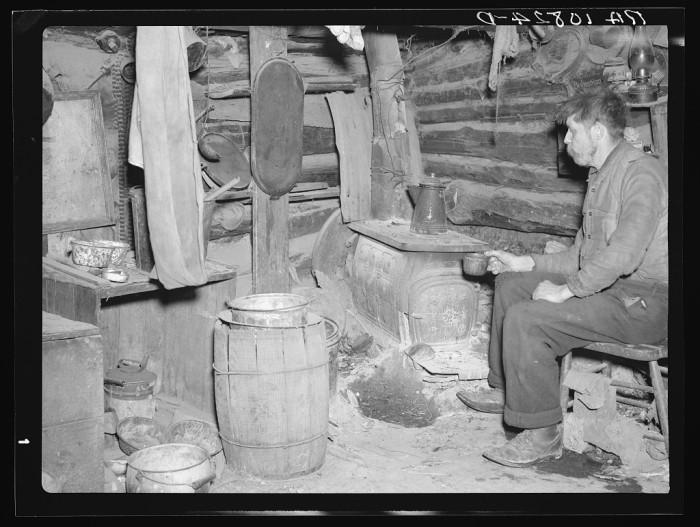 10) Buckboard Charlie in his shack near Iron River, April 1937.