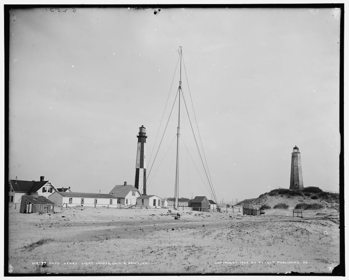 "6. THEN: This photo of the ""new"" Cape Henry Light (left) next to the ""old"" light was taken in 1905."