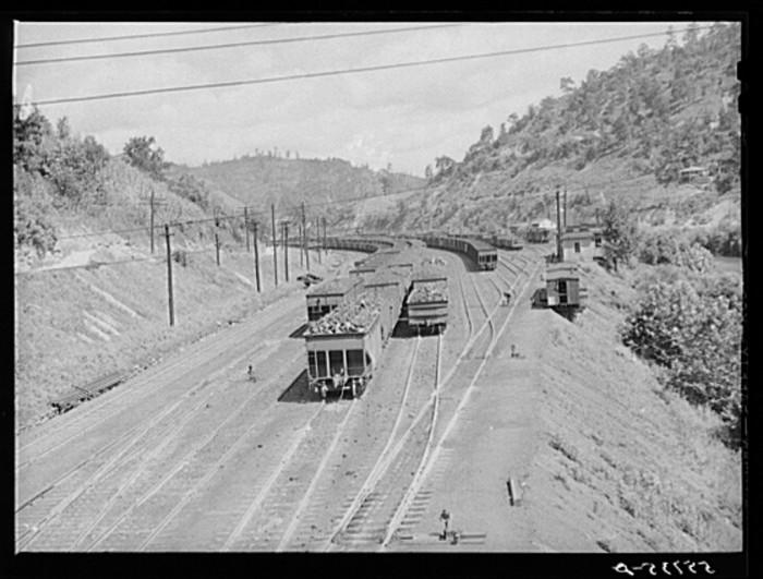 17. Carloads of coal await transport in Hazard, 1940.