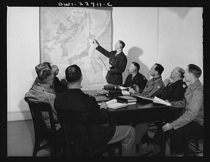 4. A committee of 10 officers assigned to study Japanese political administration analyze tactical problems at the University of Virginia's School of Military Government in Charlottesville, April 1943.