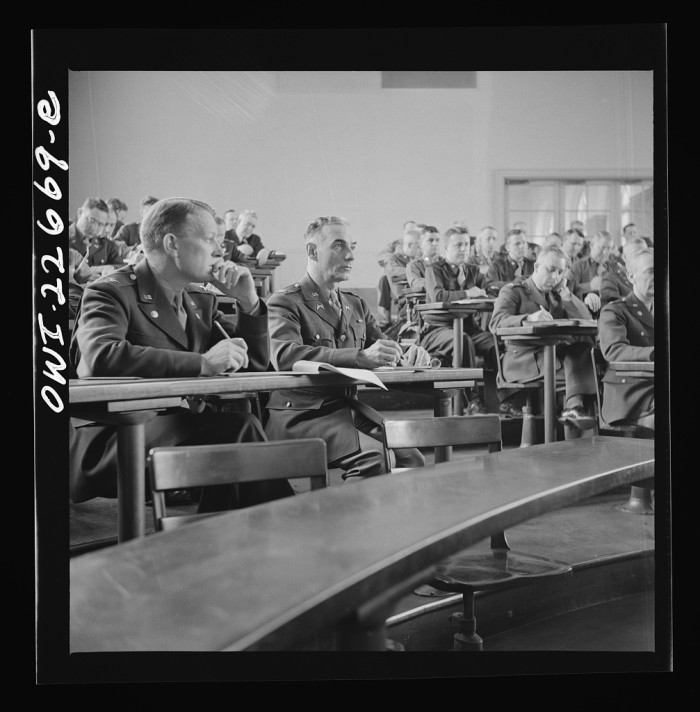 3. U.S. military officers listen to a lecture while attending the School of Military Government at the University of Virginia, April 1943.