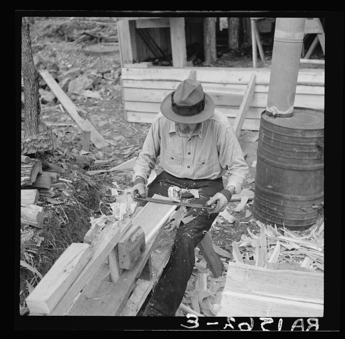 """8. A craftsman at the Chopawamsic Recreational Project makes """"shakes"""" (hand-made, wooden shingles) in Stafford County, 1936."""
