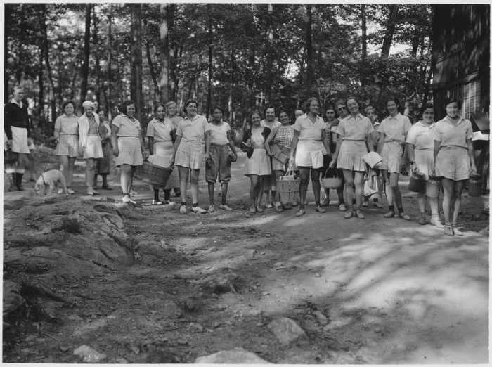 21. An unemployed women's camp near the Palisades. A controversial program developed by Eleanor Roosevelt as part of the CCC, these women worked mainly on wilderness conservation projects.