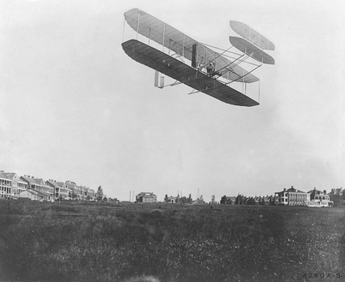 5. THEN: Orville Wright flies in to Fort Myer in Arlington in the first military test flight, September 1908.