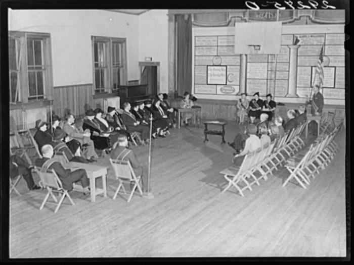 "28. A ""Grange"" meeting at a Fairfax County schoolhouse, 1940."