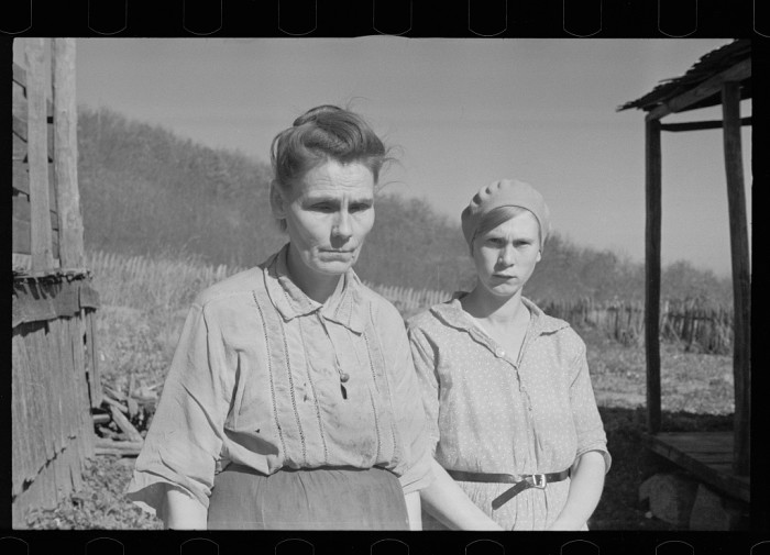 13. Fannie Corbin with one of her daughters in Corbin Hollow. Fannie was the mother of 22 children at the time of this photo in 1935.