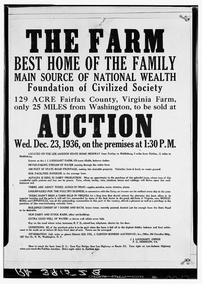24. A handbill that was passed around in Herndon in 1936 announcing the auction of a family farm.