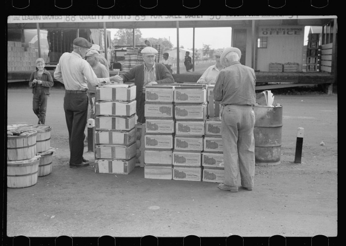 8) Farmers at produce market, Benton Harbor, Michigan