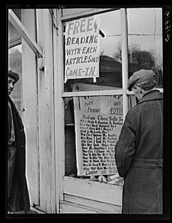 10. A fortune teller sets up shop in Radford, 1940.