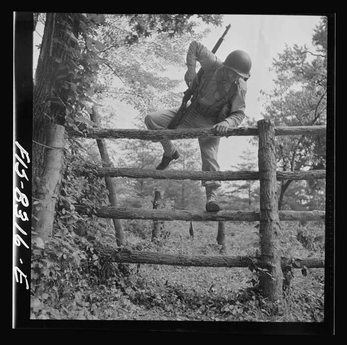 5. Sergeant George Camblair completes an obstacle course as part of his training at Fort Belvoir in Fairfax County, September 1942.