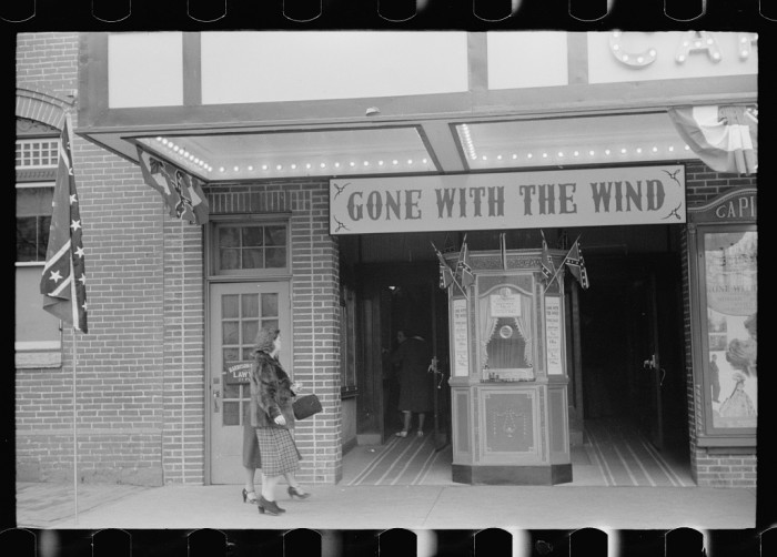 3. A Winchester movie house displays Confederate flags on February 12, 1940.