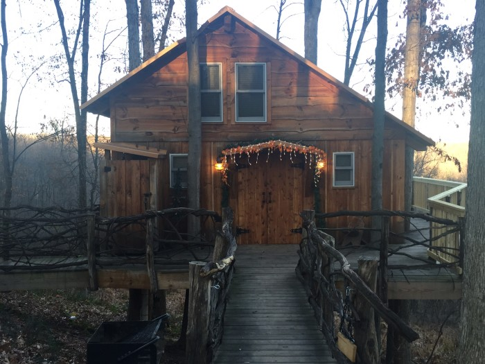 8. Book a quiet weekend away at a cozy cabin or treehouse.